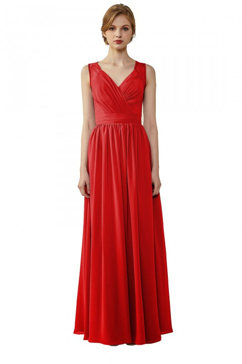 Lace Illusion Back Ruched V-Neck Bridesmaid Dress with Sash