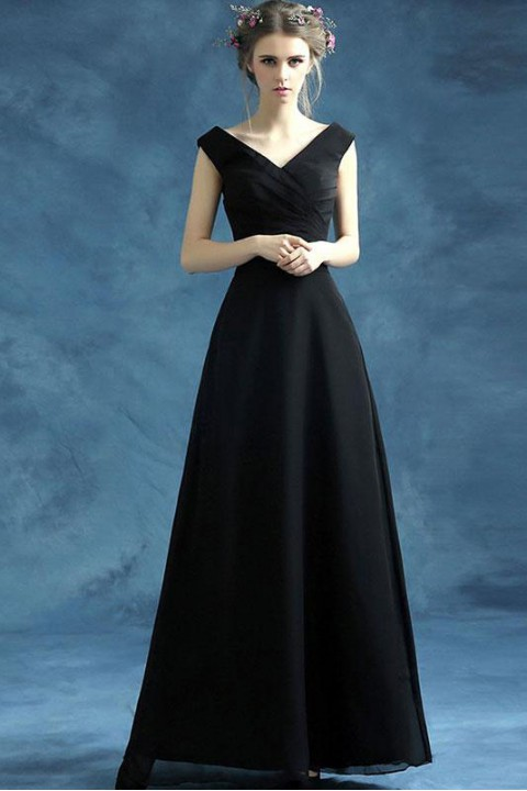 V Neck & Back Pleated A Line Chiffon Bridesmaid Dress with Belt