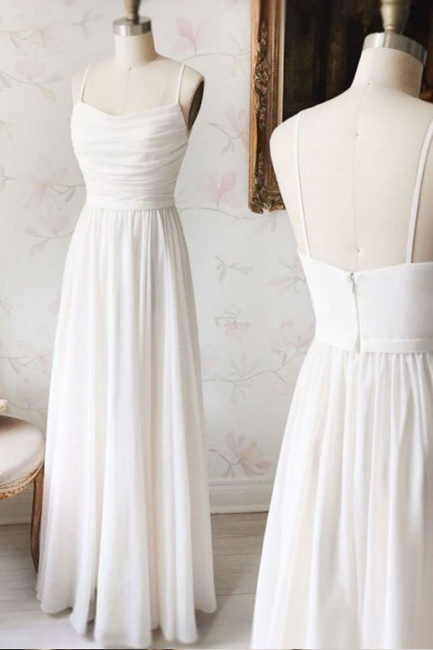 Simple Spaghetti Straps Ruched Chiffon Bridesmaid Dress Long