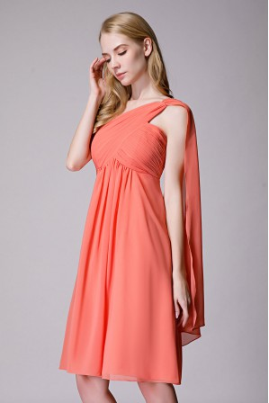 3204ff840a46 One-Shoulder Pleated Chiffon Short Bridesmaid Dress With Flowing Cape