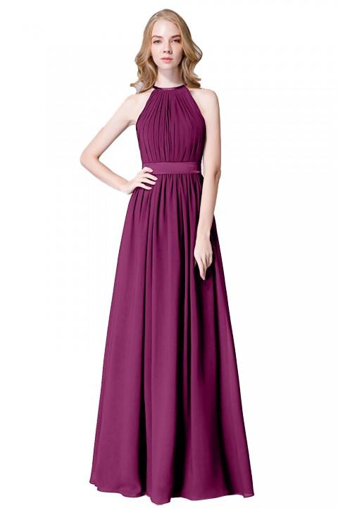 High Neck Halter Pleated Bodice Chiffon Bridesmaid Dress Long