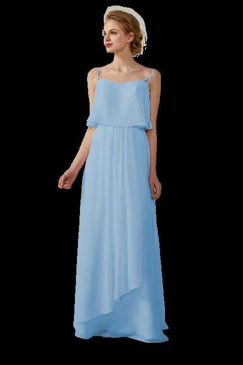 Clearance | Boho Spagetti Straps Chiffon V-Neck Bridesmaid Dress