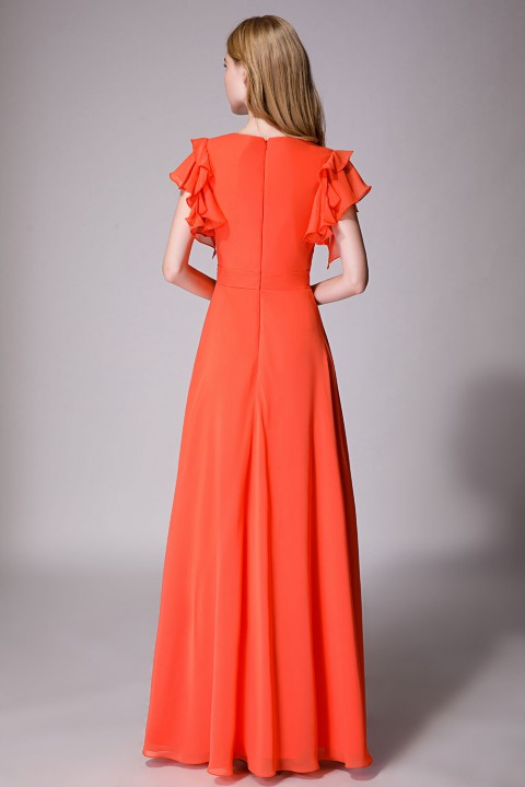 Deep V neck chiffon bridesmaid dress with ruffle sleeves
