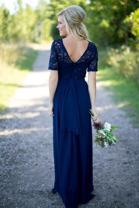 Lace Scoop V Back Short Sleeve Long Bridesmaid Dress with Sequins