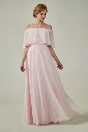 470b48b4d107 Bohemian Style Off Shoulder Chiffon Flounce Top Bridesmaid Dress
