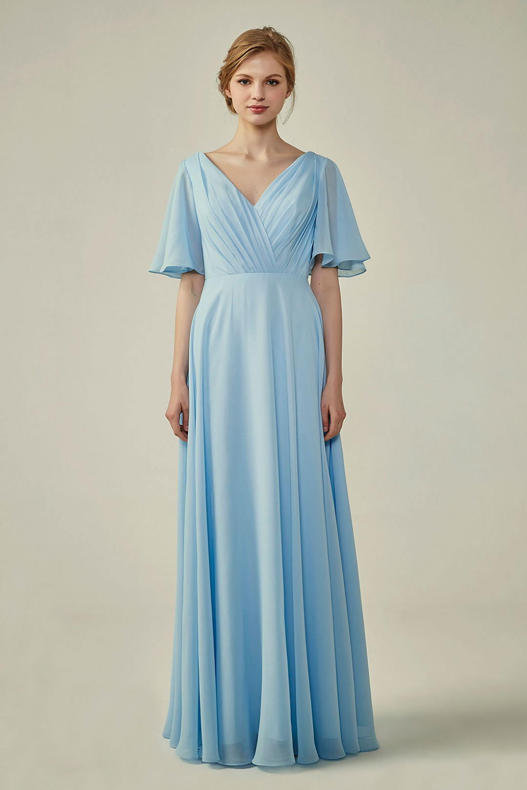 Casual V-Neck Flutter Chiffon Bridesmaid Dress with Sleeves 499c3b991
