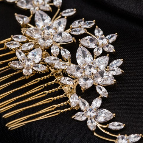 Gold Rhinestone Bridal Comb Wedding Flower