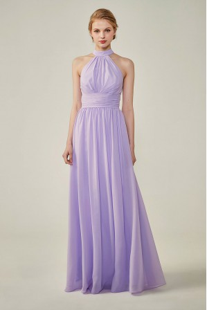 84b2e44517ed High Neck Chiffon Lace Triangle Back Halter Bridesmaid Dress