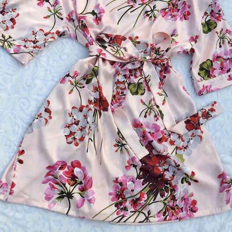 Personalized Floral Silky Wedding Bridesmaid Robe