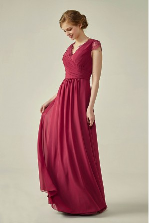 9403b9a4d2d4 Lace Cap Sleeves V-Neck Lace Back Closure with Keyhole Bridesmaid Dress