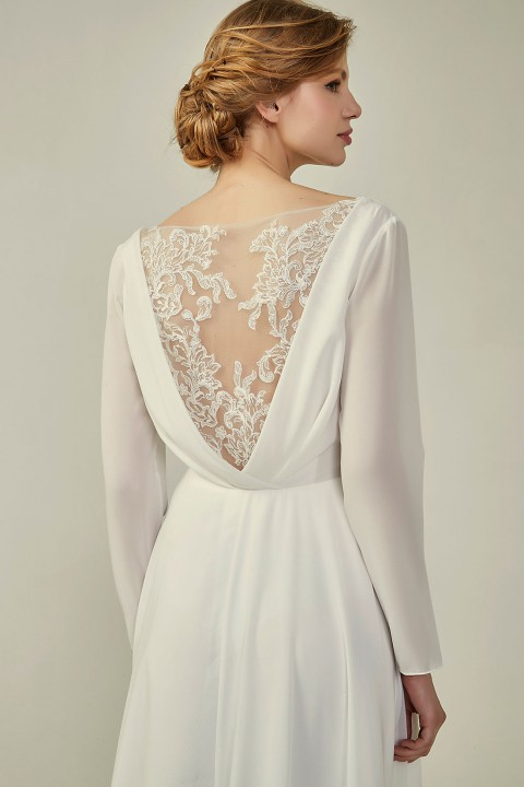 Long Sleeve Lace Back V-Neck Elegant Bridesmaid Dress