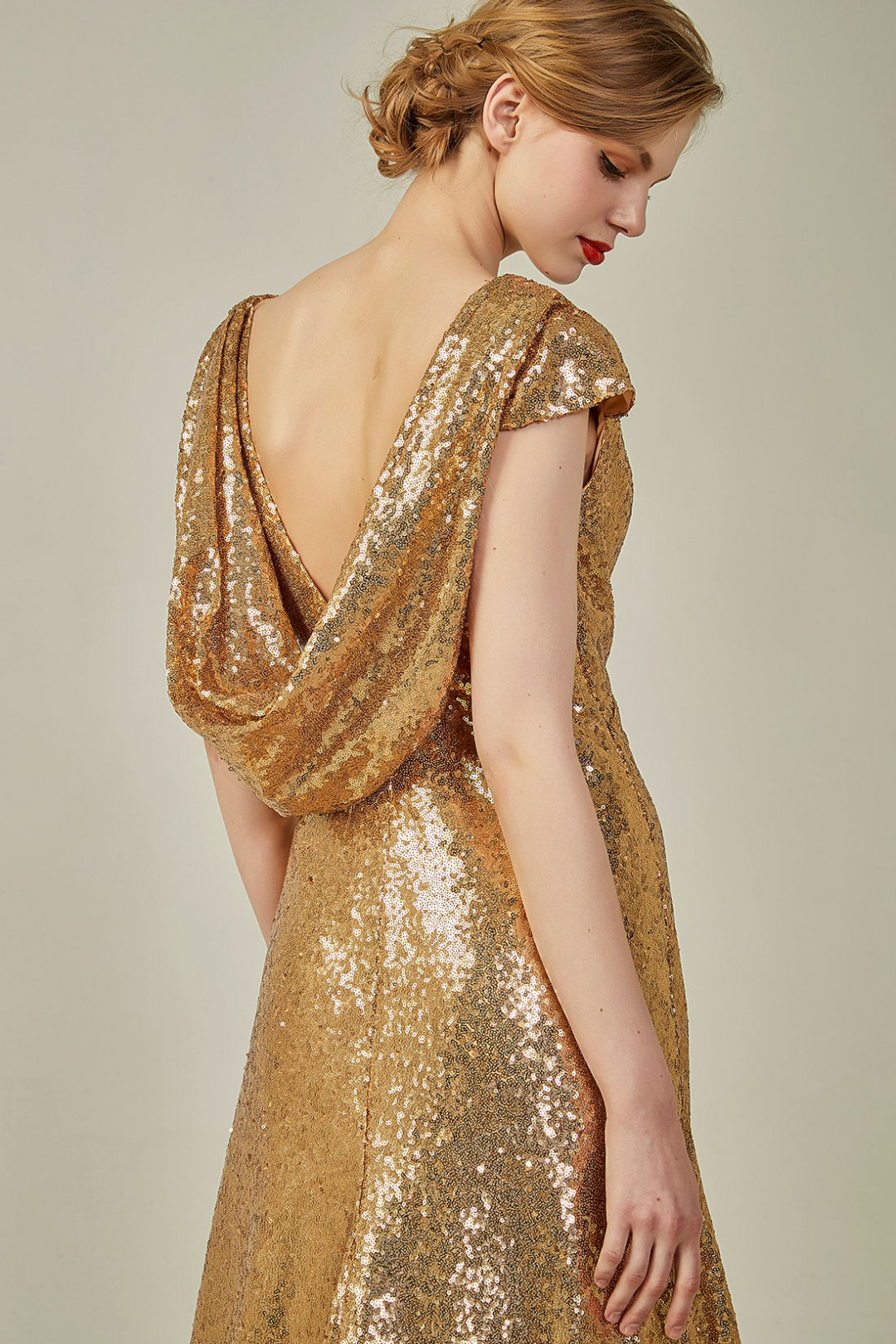 Metallic V Neck Gold Sequined Cowl Back Bridesmaid Dress