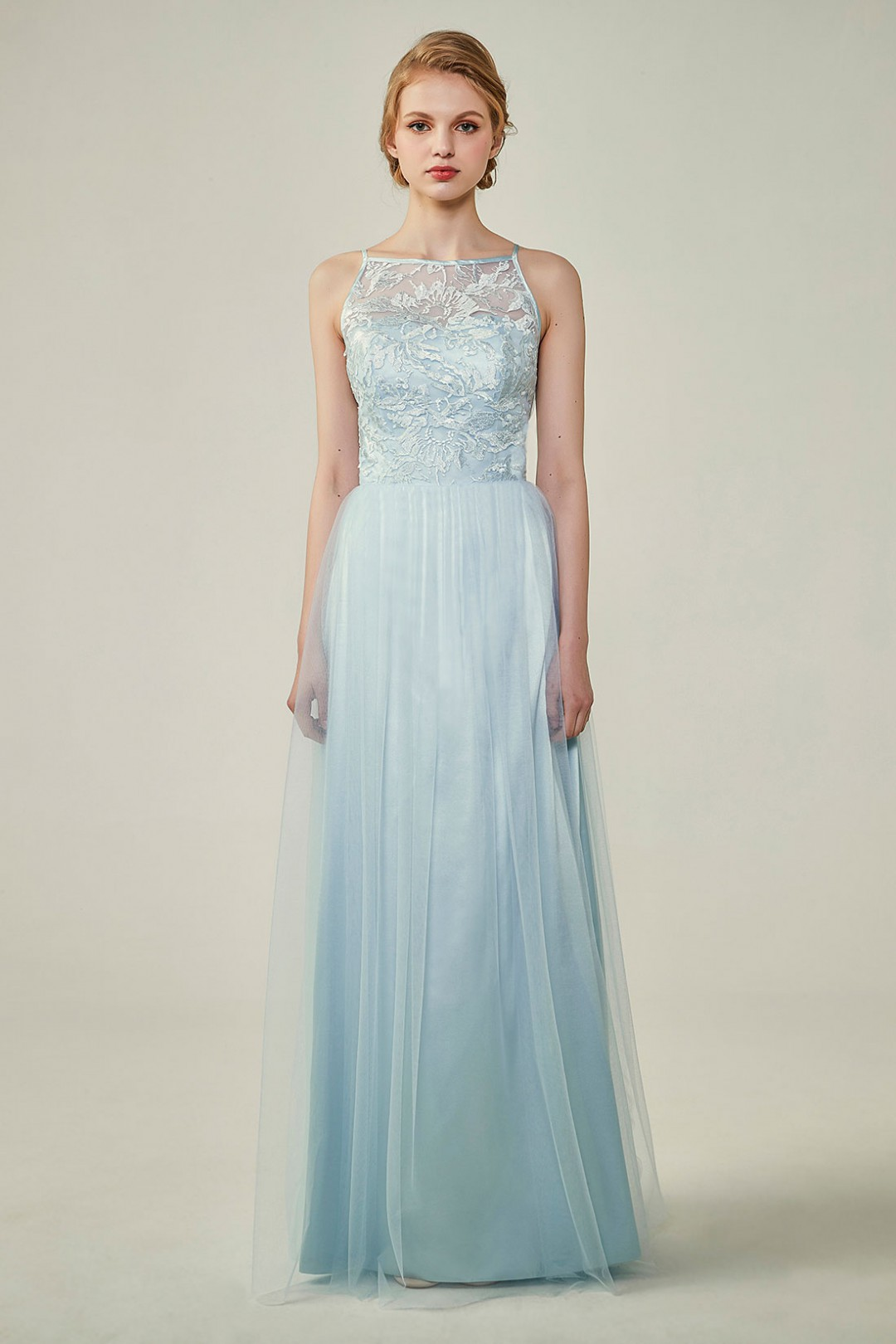 Tulle Lace Illusion Boat Neck and Back Bridesmaid Dress