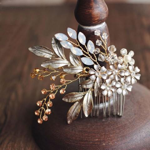Gold Pearl Bridal Wedding Comb Flower