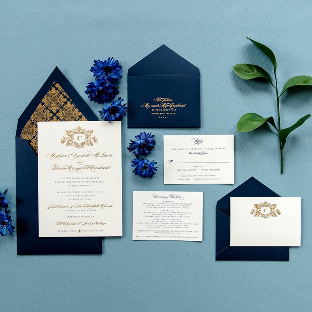 Vintage Navy Blue Gold Foil Pressed Wedding Invitation Set