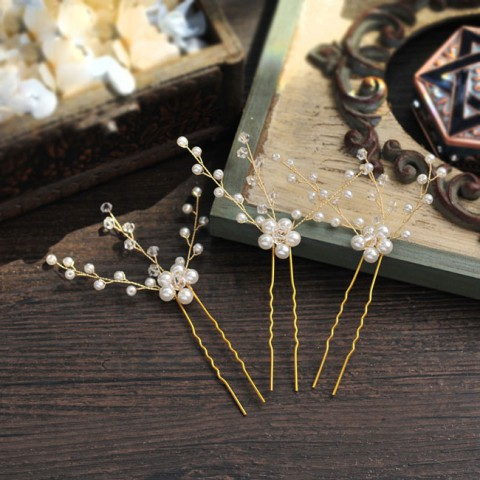 Pearl Gold Hair Pin Wedding