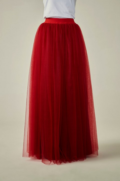 Elastic Waist Tulle Bridesmaid Long Skirt