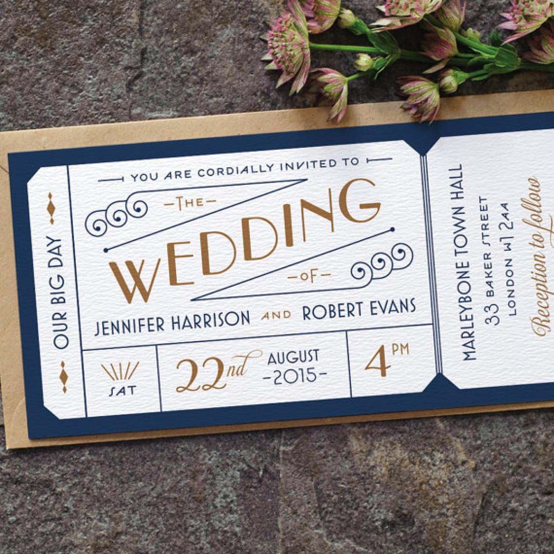 Destination Airline Ticket Style Wedding Invitation Navy Blue Gold