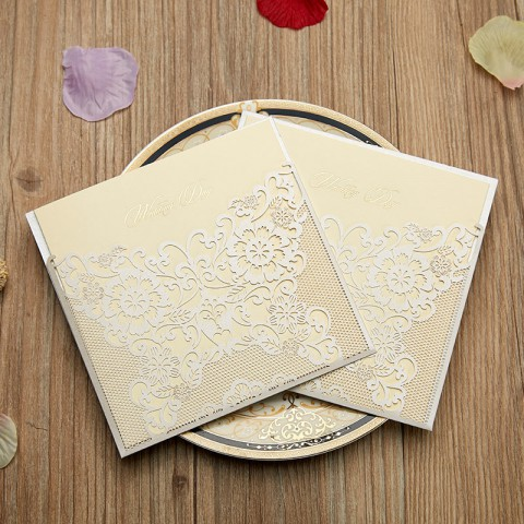 Ivory Flora Laser Cut Wedding Invitation